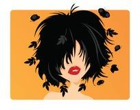 Junges Mädchen mit dem schwarzen Haar Lizenzfreie Stockfotos