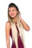 Junges Mädchen mit der langen Haaraufstellung Stockbild