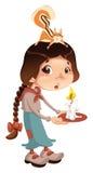 Junges Mädchen mit Eichhörnchen und Kerze. Lizenzfreies Stockfoto