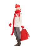 Junges Mädchen mit Einkaufstaschen stockfotos