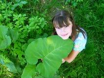 Junges Mädchen mit grünem Blatt lizenzfreies stockfoto