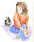 Junges Mädchen mit Häschen - Aquarell Lizenzfreies Stockbild