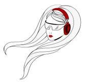 Junges Mädchen mit Kopfhörern Stockfotos