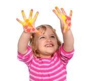 Junges Mädchen mit Lack auf Händen lizenzfreie stockbilder