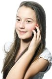 Junges Mädchen mit Mobil lizenzfreie stockfotos