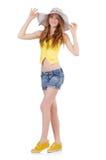 Junges Mädchen mit Panama lizenzfreies stockfoto