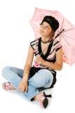 Junges Mädchen mit Regenschirm Stockfotos