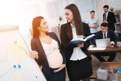 Junges Mädchen mit schwangerer Frau baut Arbeitsflüsse auf flipchart auseinander Schwangerschaft im Büro lizenzfreie stockfotografie