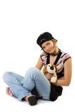 Junges Mädchen mit Spielzeughund Stockbild