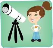 Junges Mädchen mit Teleskop. Lizenzfreies Stockfoto