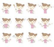 Junges Mädchen mit verschiedenen Haltungen und Gefühlen stock abbildung