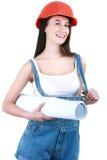 Junges Mädchen mit Werkzeugen für das Errichten und ein leeres Plakat Stockfoto