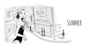 Junges Mädchen in Monokini auf der Straße des beliebten Erholungsorts Vektorillustration in der Skizzenart lizenzfreie abbildung