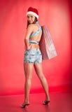 Junges Mädchen Sankt `s im Hut mit Einkaufstasche Stockbilder