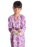 Junges Mädchen und Satz Medizin-Pillen III Stockfotografie