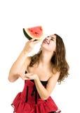 Junges Mädchen und Wassermelone Lizenzfreie Stockbilder