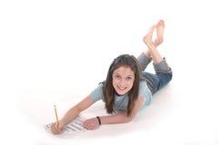 Junges Mädchen-Zeichnung und Schreiben 3 lizenzfreies stockfoto