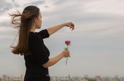 Junges Mädchen zupft ein Blumenblatt von einer Rose über einer Stadtansicht Stockfotografie