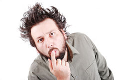 Junges männliches Baumuster mit dem lustigen Haar mit Ausdruck lizenzfreies stockbild