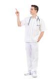 Junges männliches Krankenschwesterzeigen Stockfoto