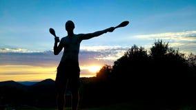 Junges männliches Trainieren des Schattenbildes Lizenzfreies Stockbild