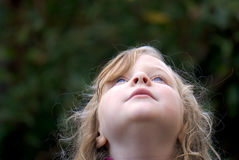 Junges Mädchen, das oben schaut: blaue Augen Stockbild