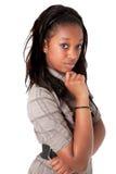 Junges nettes Denken der schwarzen Frau Lizenzfreie Stockfotos