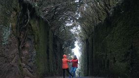 Junges optimistisches Paar geht und dreht sich herum auf eine Straße zwischen die Felsen, die durch Bäume im Anaga-Naturpark in T stock footage