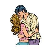 Junges Paark?ssen Liebesbeziehungen Romanze lizenzfreie abbildung