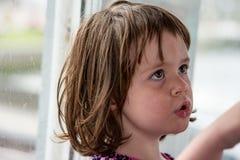 Junges Porträt des kleinen Mädchens, das heraus Fenster schaut Stockbilder