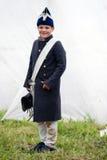 Junges reenactor an der historischen Wiederinkraftsetzung Borodino-Kampfes in Russland stockfotos