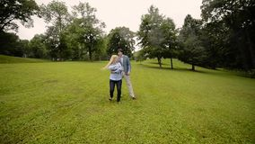 Junges reizendes Paartanzen in einem Park im Sommer Romantische Datierung oder lovestory stock video footage