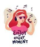 Junges Rothaarigemädchen, das Musik mit Kopfhörervektordesign hört lizenzfreie abbildung