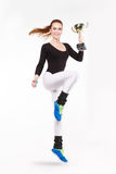 Junges rothaariges athletisches Mädchen mit Meisterschaftstrophäe Lizenzfreies Stockbild