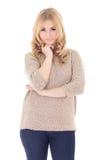 Junges schönes blondes in der Strickjacke lokalisiert auf Weiß Stockfotografie
