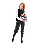 Junges schönes Kursteilnehmermädchen mit Büchern in der Hand Stockfotos