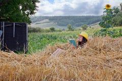 Junges schönes Mädchen, das auf Stroh sitzt und ein Buch liest Stockfotos