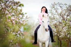 Junges schönes Mädchen, das ein Pferd im Apfelgarten reitet Lizenzfreies Stockfoto