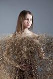 Junges schönes Mädchen in einem braunen Kleid mit Busch Stockfotografie