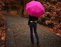 Junges schönes Mädchen im Regen geht mit dem rosa Regenschirm entlang der Gasse im Park im Herbst Lizenzfreie Stockfotos