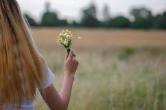 Junges schönes Mädchen mit Gänseblümchenblumenstrauß lizenzfreie stockfotos