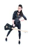 Junges schönes Mädchen mit Gitarre Stockbilder