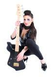 Junges schönes Mädchen mit Gitarre Stockfotos