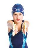 Junges Schwimmermädchen Stockfotos