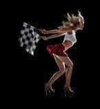 Junges sexy Mädchen beginnt das Beschleunigungsrennen stockbild