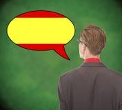 Junges sprechendes Spanisch des Geschäftsmannes auf Schulbehörde Stockfoto