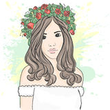Junges stilvolles Mädchen im Kranz Moderne Art skizze Auch im corel abgehobenen Betrag Lizenzfreie Stockbilder