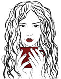 Junges stilvolles Mädchen Moderne Art skizze Auch im corel abgehobenen Betrag Lizenzfreie Stockfotos