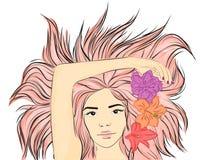 Junges stilvolles Mädchen Moderne Art skizze Auch im corel abgehobenen Betrag Lizenzfreie Stockbilder