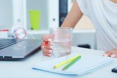 Junges Trinkwasser des femle Büroangestellten beim Arbeiten mit Laptop-Computer Stockfotografie
